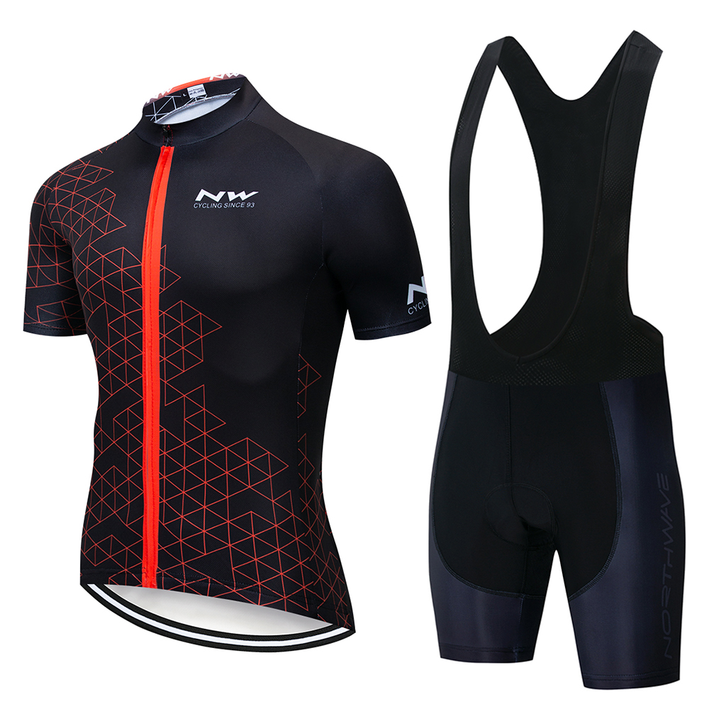 2019 NW NORTHWAVE Men Summer Cycling Jersey Bib Shorts Bicycle Short Sleeve Clothing Set Breathable Gel Cushion Clothing