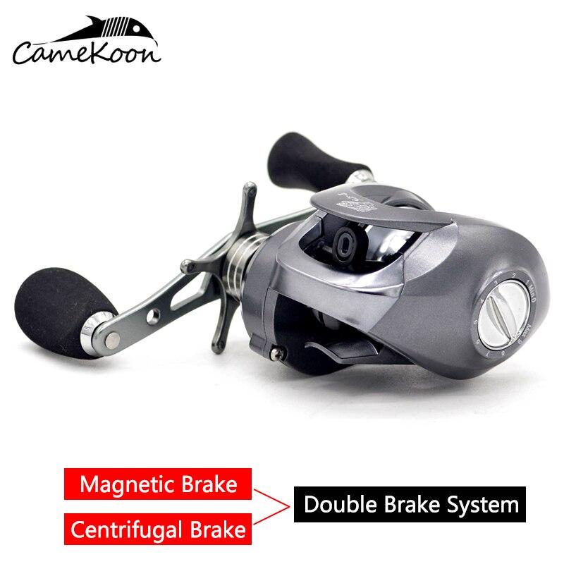 camekoon baitcasting carretel de pesca duplo sistema de freio 7 1 1 relacao engrenagem 8 kg