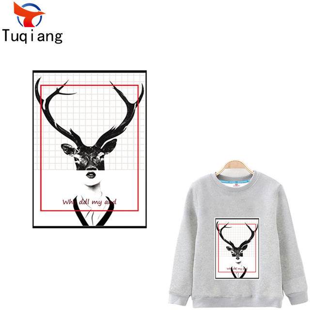 Fashion Photo frame styles black and white deer Iron On Transfers ...
