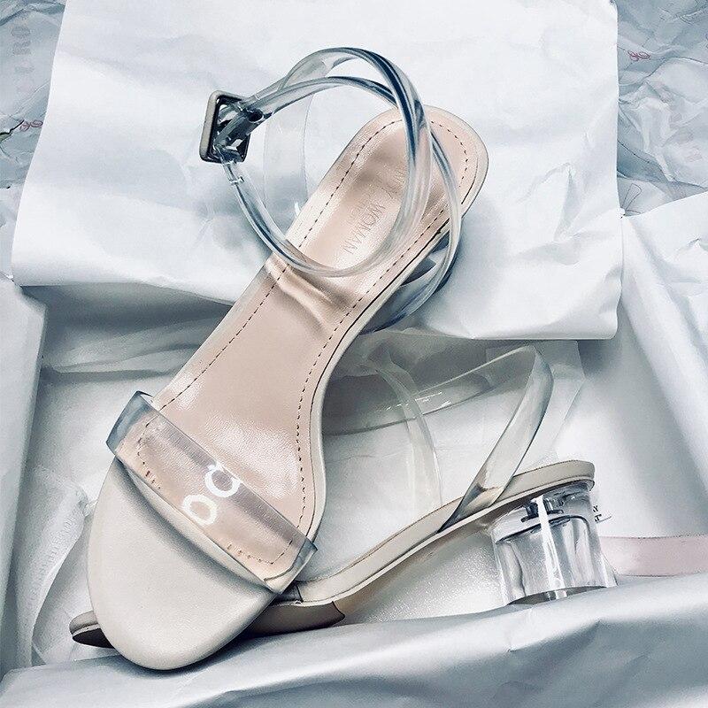 2019 Summer Fashion Women's Sandals Transparent Tape PVC Women Shoes Rome Sandals High Heel Open-toe Women Shoes Q00052