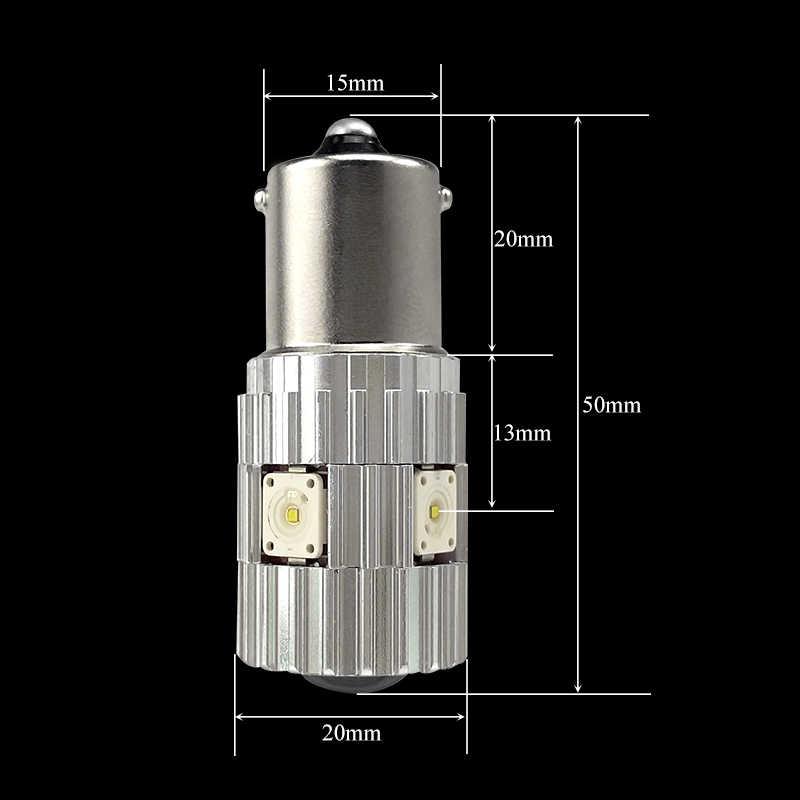 CNSUNNYLIGHT 2pcs 1156 LED BA15S P21W BAU15S PY21W S25 1200Lm 6000K White DRL Car Tail Fog Bulbs Brake Light Reverse Lamp