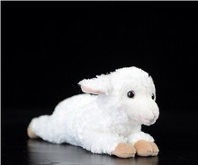 Free shipping cute  Lie prone pose little sheep doll simulation continous animal plush toys