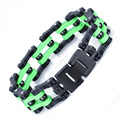 2016 Trendy Black Green Stainless Steel Bracelet For Men Heavy Wide Double Line Biker Motorcycle Link Bracelets & Bangles Gift