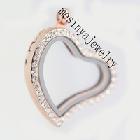 10 Pcs PVD Rose Gold Strong Magnet Czech Crystal Curved Heart Floating Charm Glass Locket Xmas