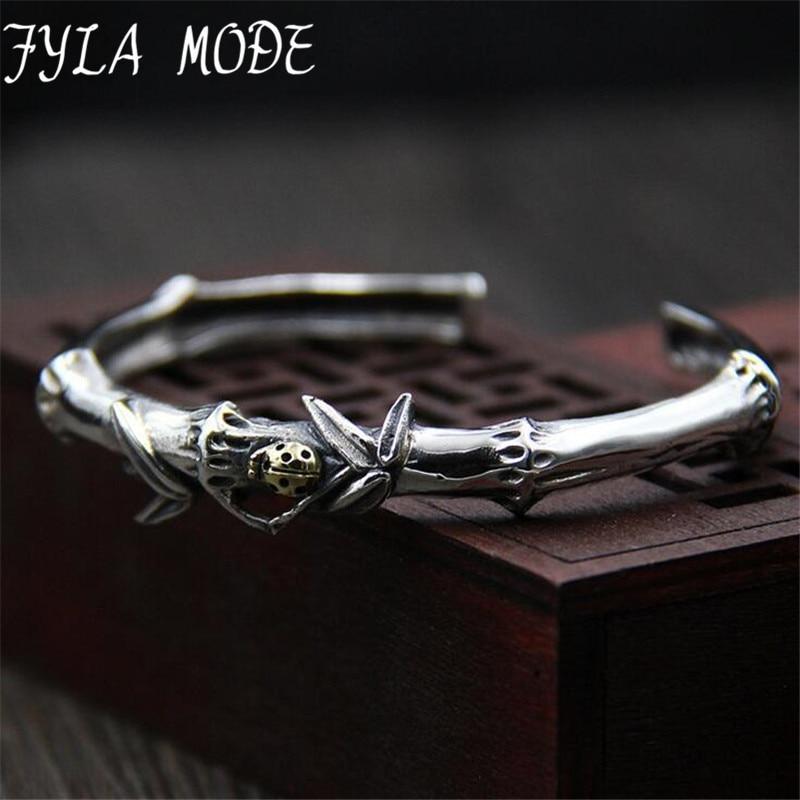 Fyla Mode Thai Silver Elegant Woman Bamboo Bangles S925 Silver Wrist Brand Bangles Manufacturer Directly Sales