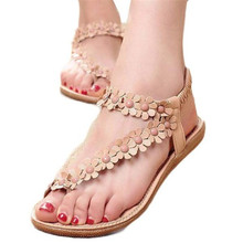Femmes Chaussures Sandales Confort Bohême Doux Sandales Perlées Été Clip Orteil Chaussures De Mode Plat Sandales Gladiateur Sandalias Mujer