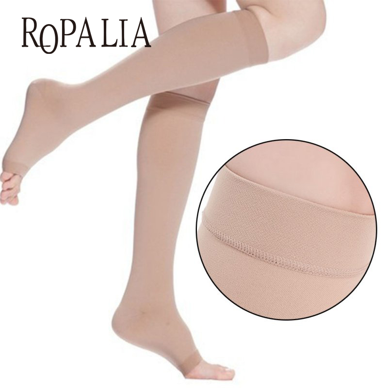 Compression Stockings Knee High Open Toe Men Women Support Stockings 18-21mm