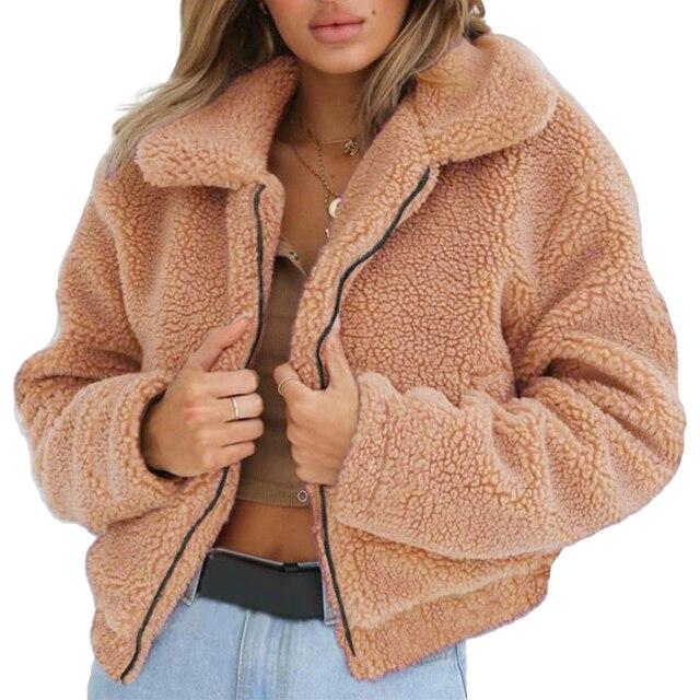 640a0b44ed0 S-3XL Women Fluffy Faux Fur Coat 2018 Winter Plush Fleece Thick Warm Shaggy  Jacket