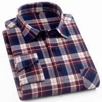 1c7f82ebf43 Натуральный хлопок Мужская Клетчатая Рубашка Фланелевая рубашка  повседневное с длинным рукавом для мужчин рубашки для мальчиков