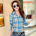2015 new fashion 100% cotton plaid shirt female College Wind temperament long-sleeved shirt bottoming large size 10 color 6686