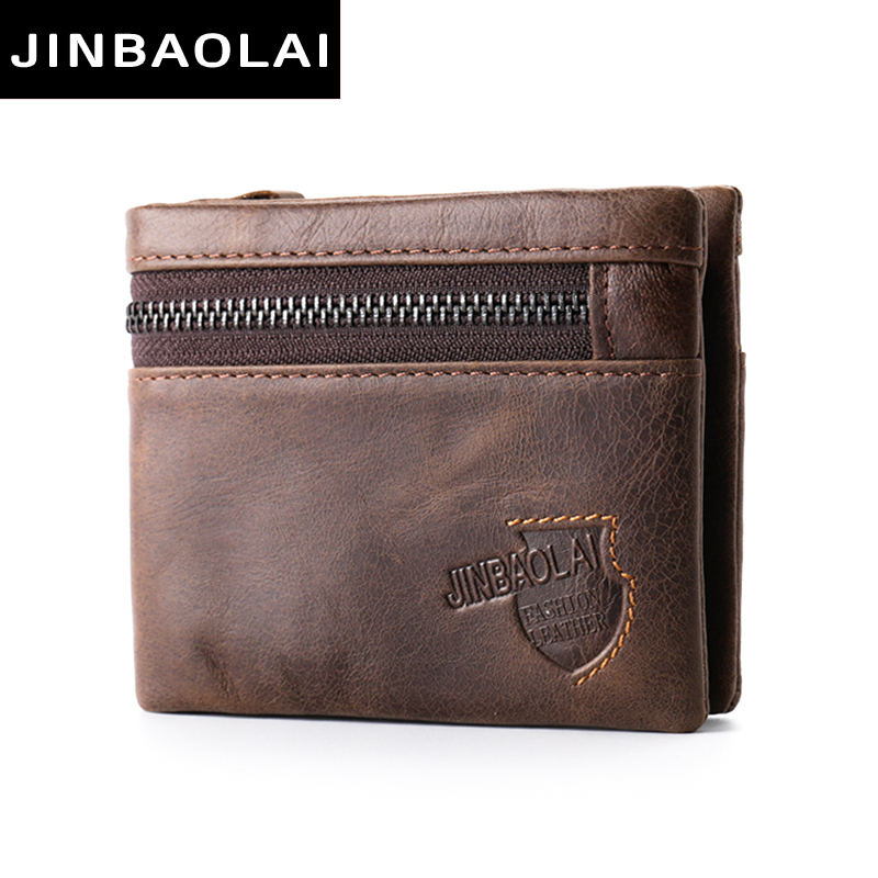 New 100% Genuine Leather Men Wallets Man Famous Small Short portomonee with Coin Zipper Mini Male Purses Card Holder Magic Walet