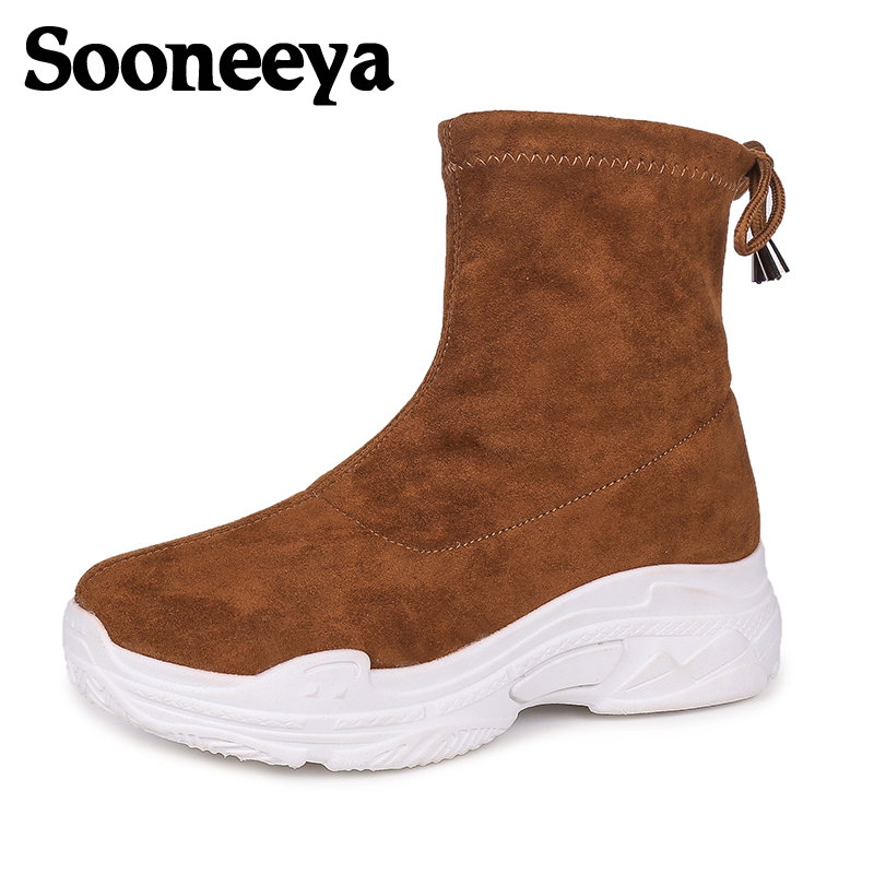 Sooneeya Autumn Ankle Boots Women Shoes Chunky Sneakers Shoelaces Slip-On Winter Snow Cow Suede Woman Shoes Botas Mujer Size 40 3