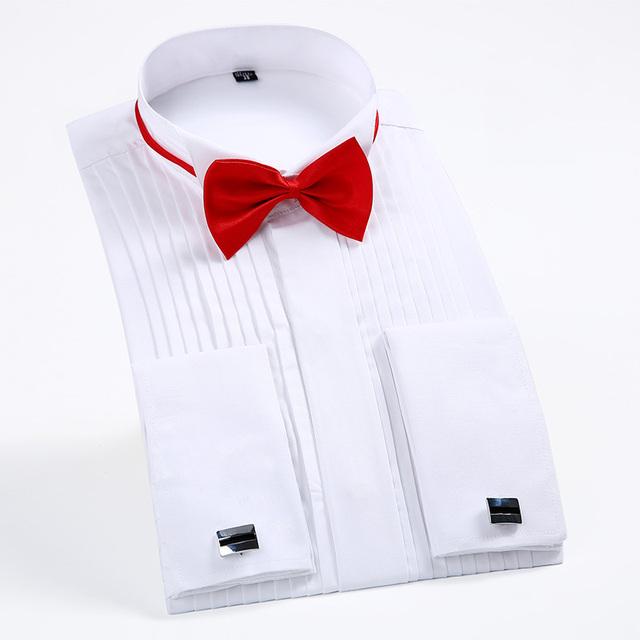 2017 Botón de Puño Francés de Los Hombres Camisas de Vestir de Manga Larga de Los Hombres Camisa de Esmoquin Masculino Boda del novio de boda blanco negro camisa