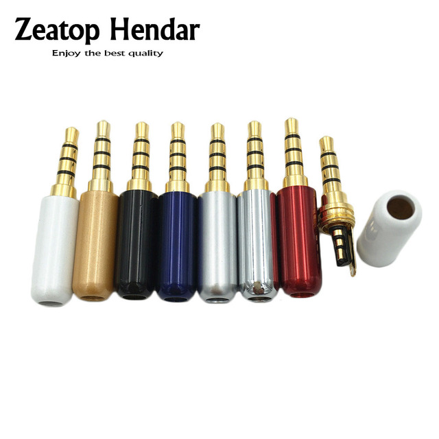 10pcs 3.5 mm Plug Audio Jack 4 Pole Gold Plated Earphone Adapter for DIY Stereo Headset Earphone or Used for Repair Earphone