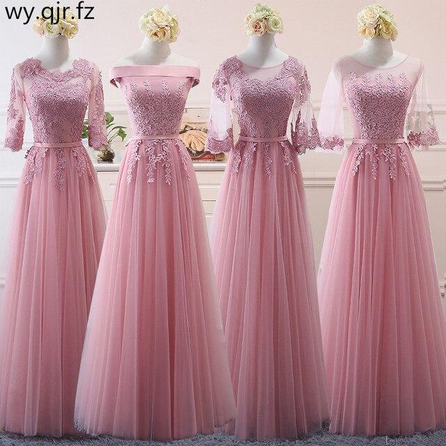 NCG02#Lace up Pink bean sand Net yarn Long Bridesmaid Dresses new spring 2018 wholesale wedding party prom bridal dress China