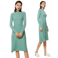 2019 Autumn Winter New Women Long Sleeve Waist Fold Knit Pleated Sweater Dress Cashmere Wool Thick Warm Knitted Dresses Vestidos sweater dress women autumn winter cashmere knitted long sleeve runway designer high quality luxury ladies dresses wool pullovers