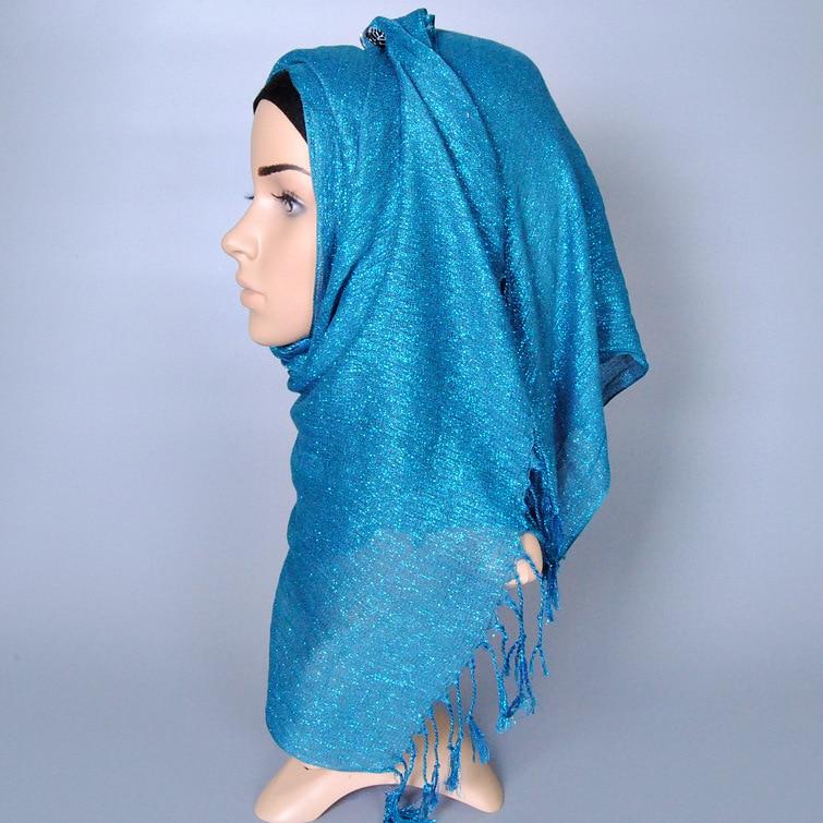 Fashion Solid Gold Thread Tassel Cotton Women Scarf Wholesale 2018 Cotton Headband Hijab Foulard Sjaal