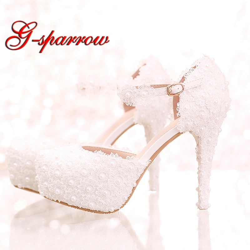 White Lace Flower Bridal Shoes High Heel Round Toe Fashion Wedding Pumps with Ankle Straps Women Sandals Bridesmaid Shoes bow wedding shoes brides pumps shoes ankle beading pearls straps tg257 comfortable low high heels bridal shoes white with bowtie