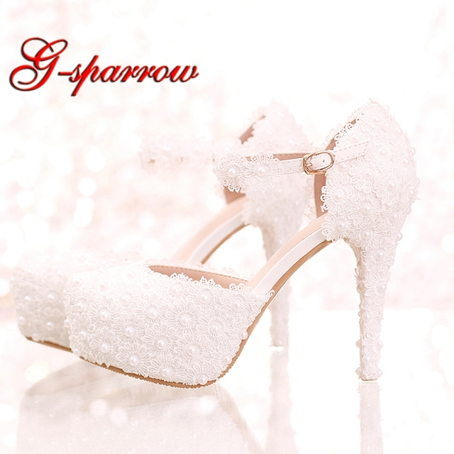 abe308523 White Lace Flower Bridal Shoes High Heel Round Toe Fashion Wedding Pumps  with Ankle Straps Women