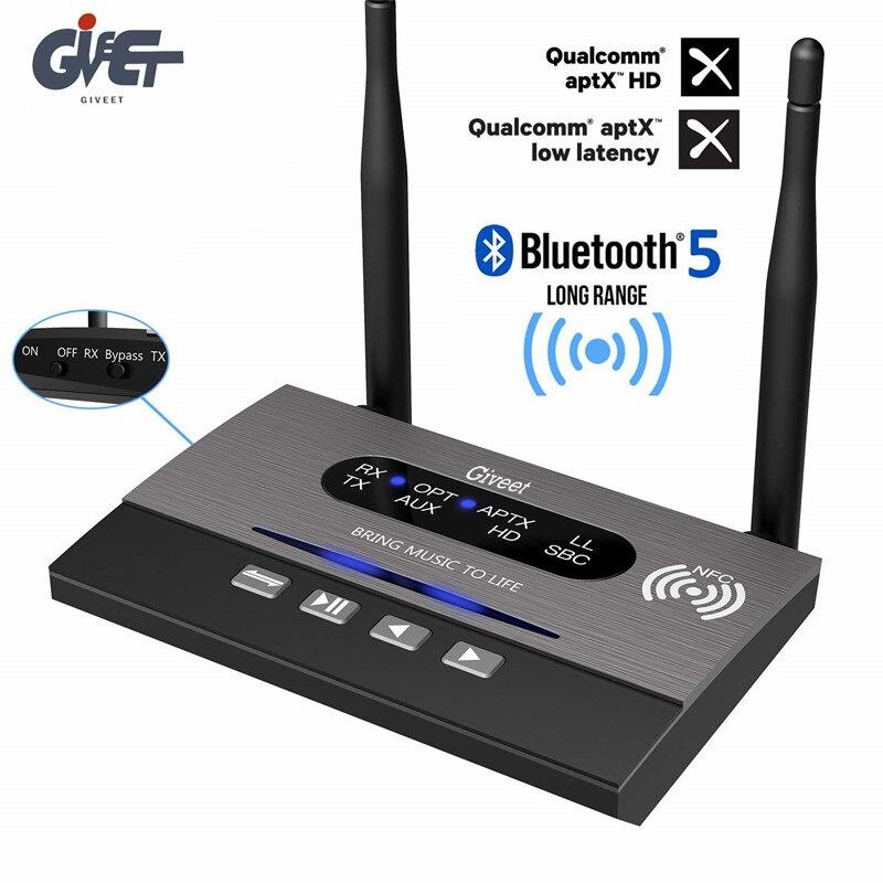 Adaptateur Audio NFC longue portée 328ft récepteur émetteur Bluetooth 5.0 APTX HD et faible latence optique RCA 3.5mm AUX pour TV