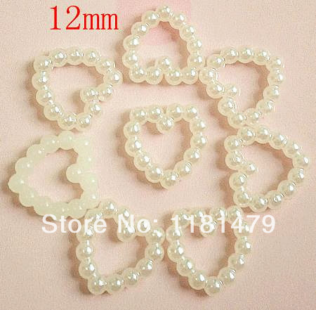 Set of 300pcs 12mm Pearl / Pearlized Flat Back hart shape Cabochon WHITE for phone scrapbook diy hair pin accessaries