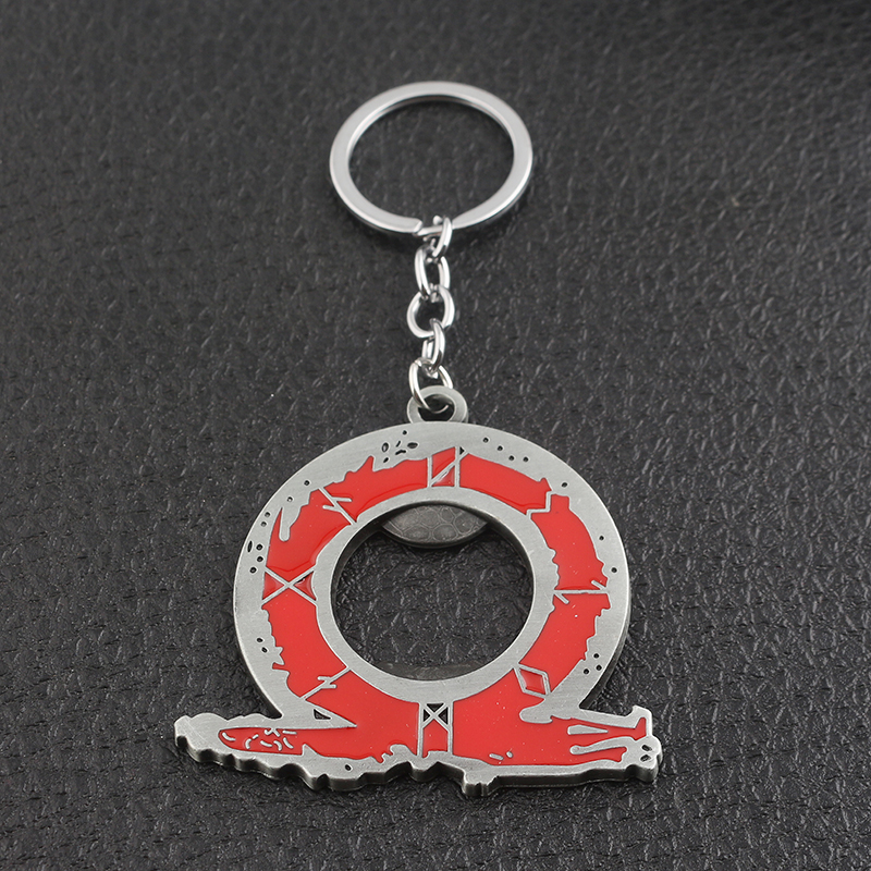 SG Newest Game God Of War Latin Characters Red Keychains LOL Alice Madness Returns Horseshoe Logo Women Men Car Bag Keyring Gift