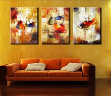 Hot Ballet Oil Paintings Handmade Picture On Canvas Modern Painting Acrylic Hang Abstract 3Pcs Pictures Wall