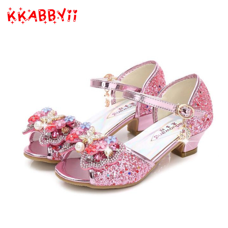 Pink Sandals for girls 2018 spring new fashion girl princess sandals bow high heels girls fish head shoes childrens Shoes