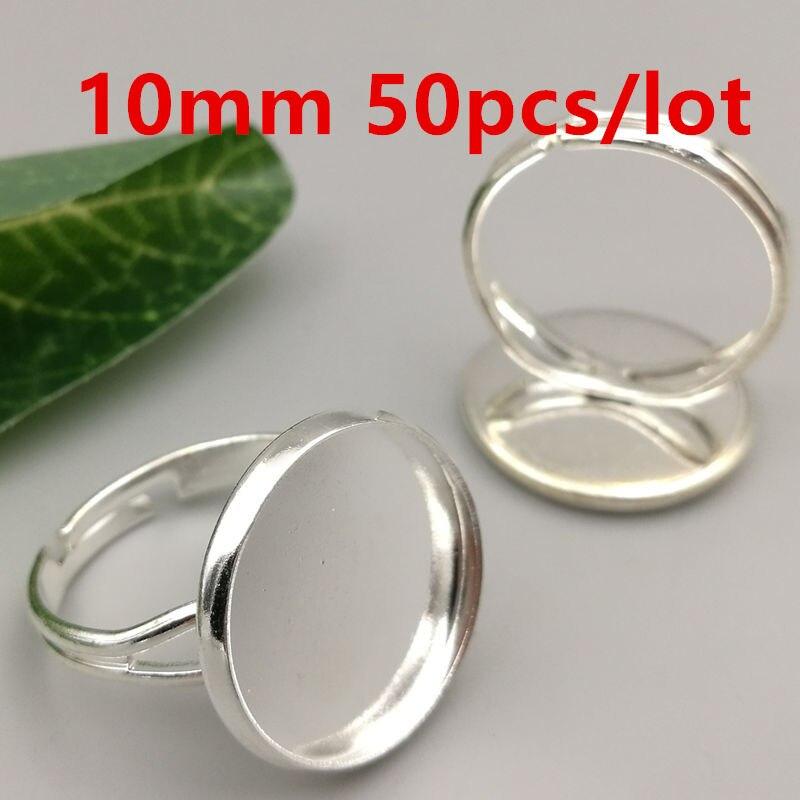 ᑎ‰Anillos ajustes 50 unids/lote 10mm latón plateado redondo del ...