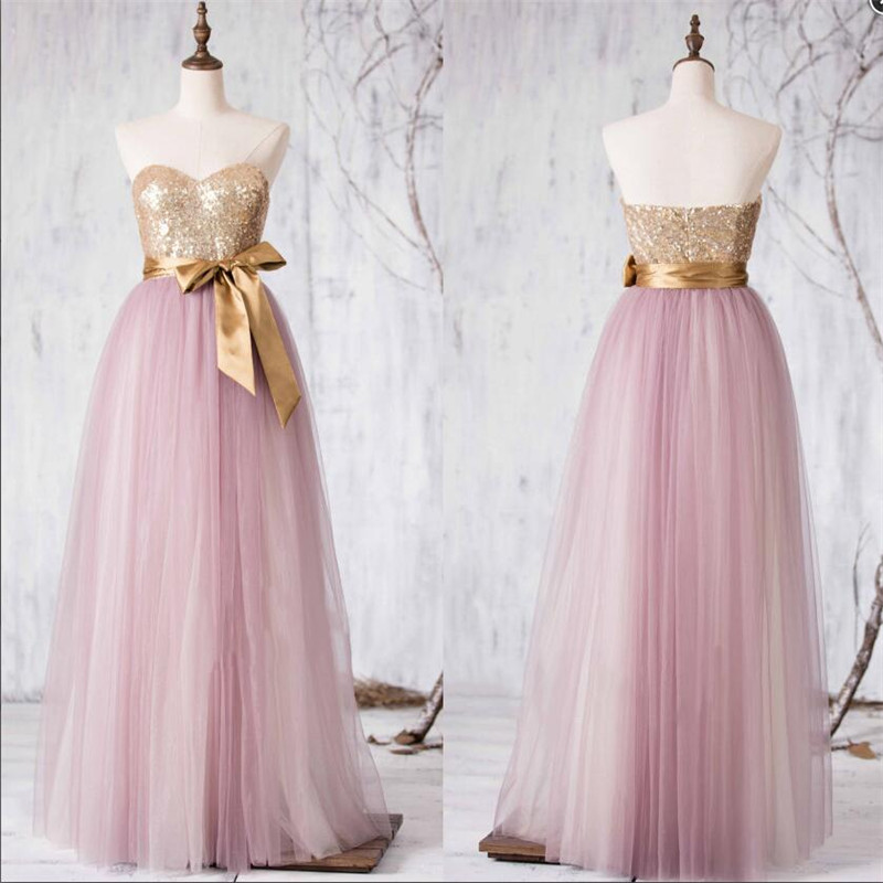 Elegant Pink Gold Sequin Long Bridesmaid Dresses 2016 Cute Sweetheart Belt Bowknot Prom Pageant For Women In From