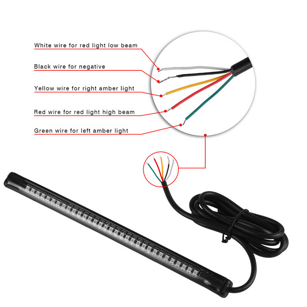 medium resolution of 1 pc universal 32 led motorcycle brake tail lamp turn signal flexible strip light super bright