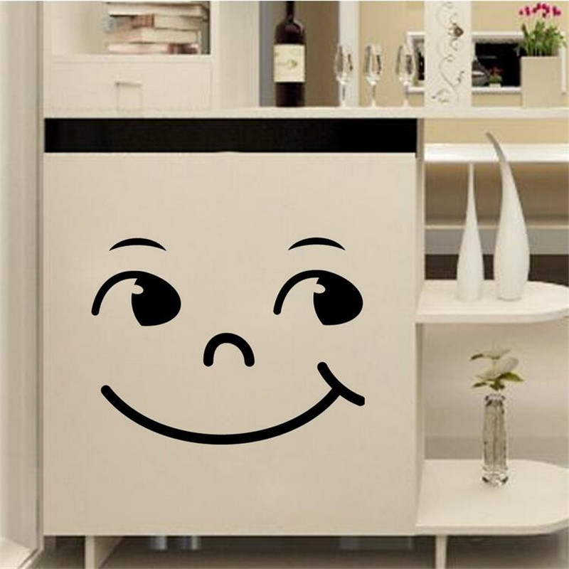 Hot Sales 2016 New Home Decor Wall Sticker Cute Cartoon Smiling Face Wall Cabinet Bathroom Toilet