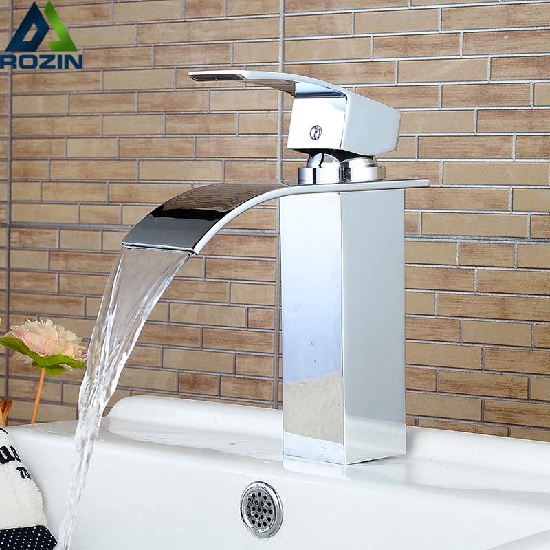 Rozin Hot Cold Basin Faucet Waterfall Bathroom Vanity Sink Faucet Single Lever Chrome Brass Hot And Cold Basin Washing Taps