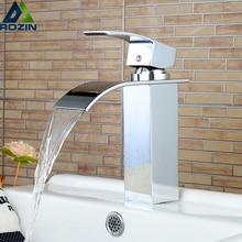 Grifo de lavabo frío y caliente Rozin, grifo de lavabo Vanity de cuarto de baño de cascada Palanca única de latón cromado, grifos de lavado de lavabo frío y caliente
