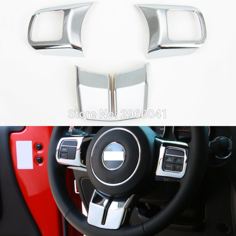 2013 Jeep Patriot Interior: 3PCS Interior Silver ABS Steering Wheel Cover Trim Sticker