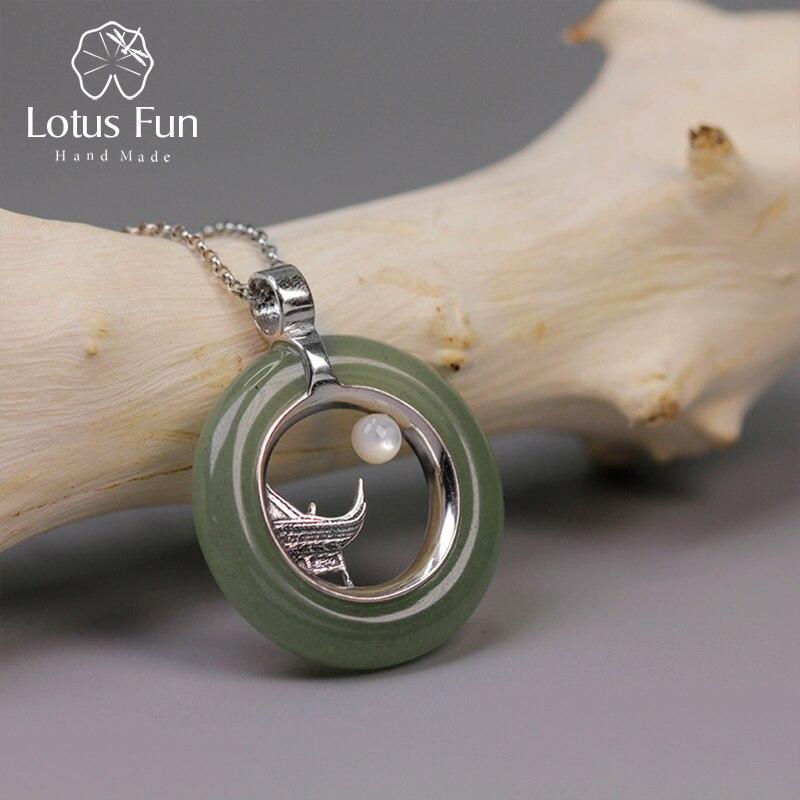 Lotus Spaß Echt 925 Sterling Silber Handgemachtes Feine Schmuck Klassische Oriental Element Moonlight Design Anhänger ohne Halskette Wome