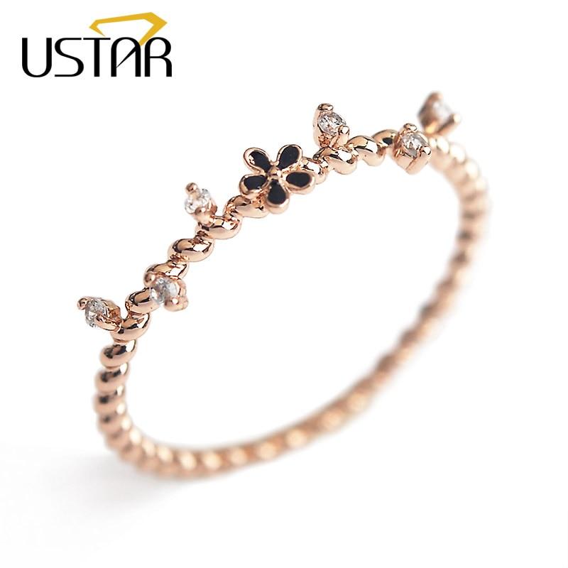 USTAR Vine Flower Zircon Crystals midi Rings for women rose gold color finger wedding Rings female Anel gift top quality