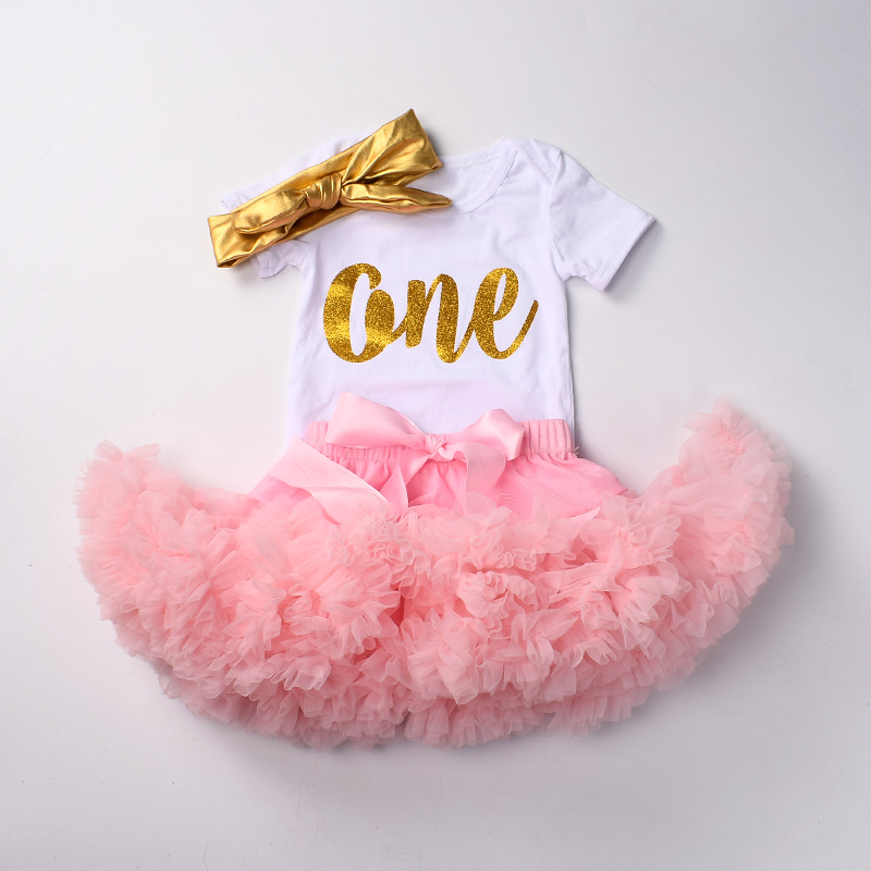 faa162f963d9 Baby girls 1st birthday clothes set 3 pcs Infant first Birthday outfits  Bodysuit top tutu pettiskirt sets with headband -in Clothing Sets from  Mother   Kids ...