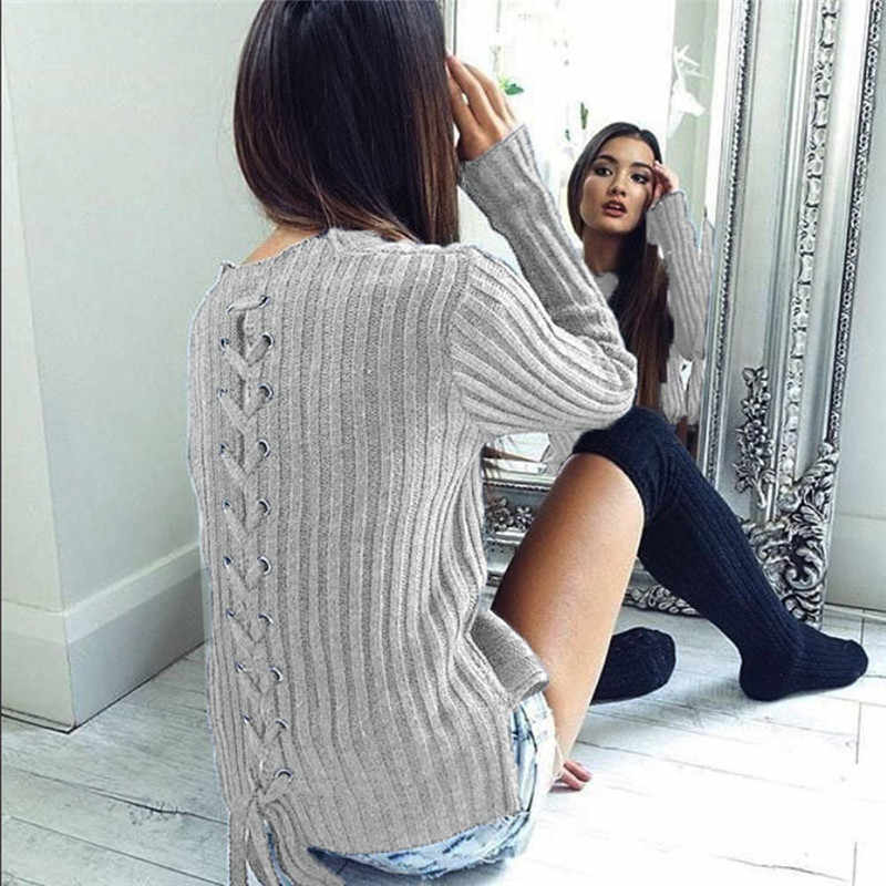11 11 2017 Women Sweater HOT Sweater Womens Casual Long Sleeve O-Neck  Bandage Sweaters eec6c2ba447e