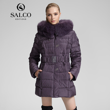 САЛКО В России монополия хлопка-проложенный одежды женская MS лиса воротники с капюшоном куртки