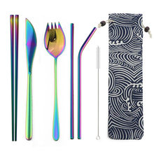 7pcs/set Colorful Portable Dinnerware Stainless Steel Cutlery Set Rainbow Dinner Set Travel Dinner Knife Tableware Sets Pouch(China)