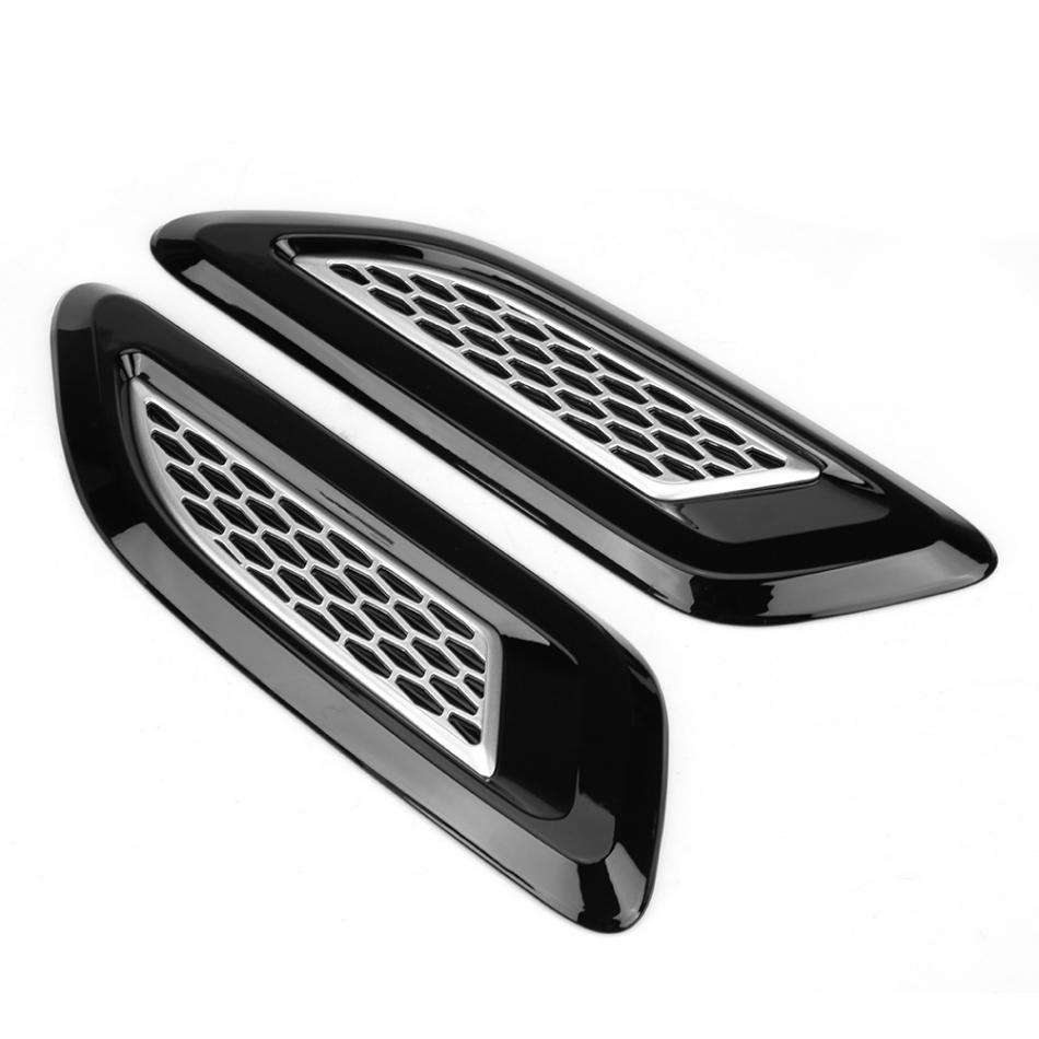 Qiilu Exterior Hood Air Vent Outlet Wing Trim Fit for Land Rover Range Rover Evoque 12-18 Black /& Silver