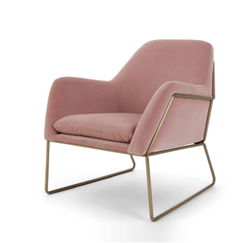 Modern Fashion Single Sofa Chair Armrest Nordic Minimalist Sofa Living Room Chair Flannelette Soft Seat Cushion Metal Iron Frame|Living Room Chairs|Furniture - title=