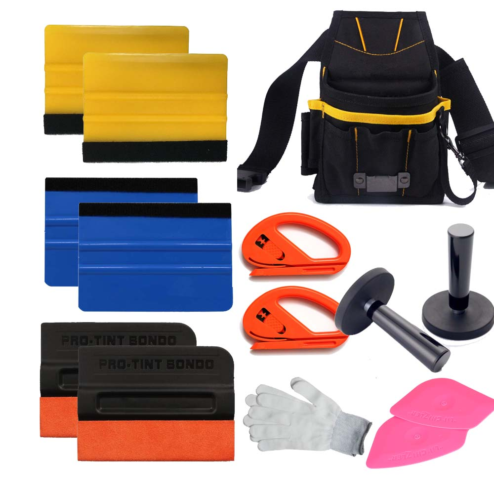 Car Wrapping Installation Tools Kit Vinyl Wrap Bag Squeegee Razor Glove Magnet