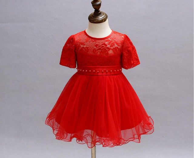 Blanco bolas de color rojo niña bautismo bautizo vestido de pascua dress hollow lace rose flower party girl dress 0-24meses