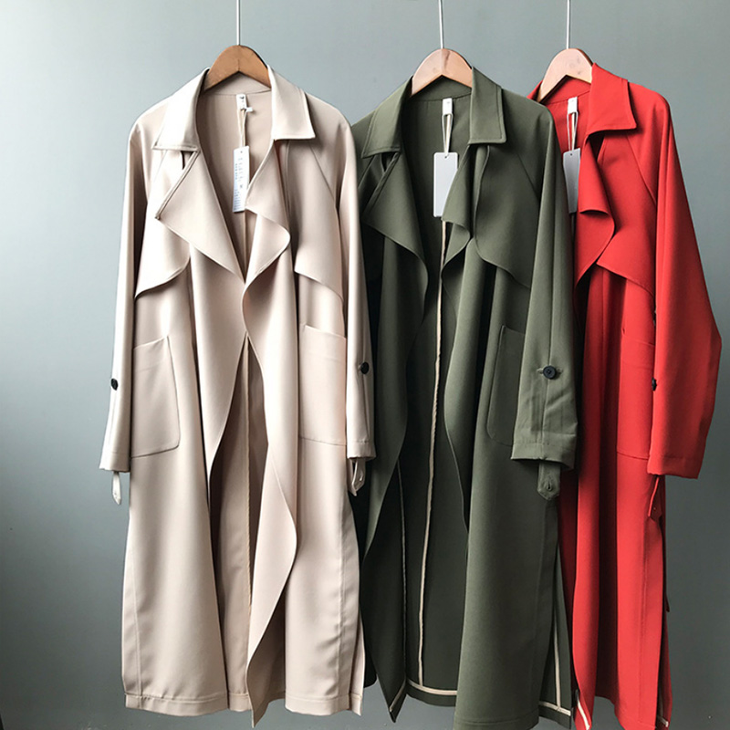 2019 New Long Women Belt   Trenches   Knee Length Fashion Asymmetric High Street Coats Slim Waisted Casual   Trenches   Midi Red