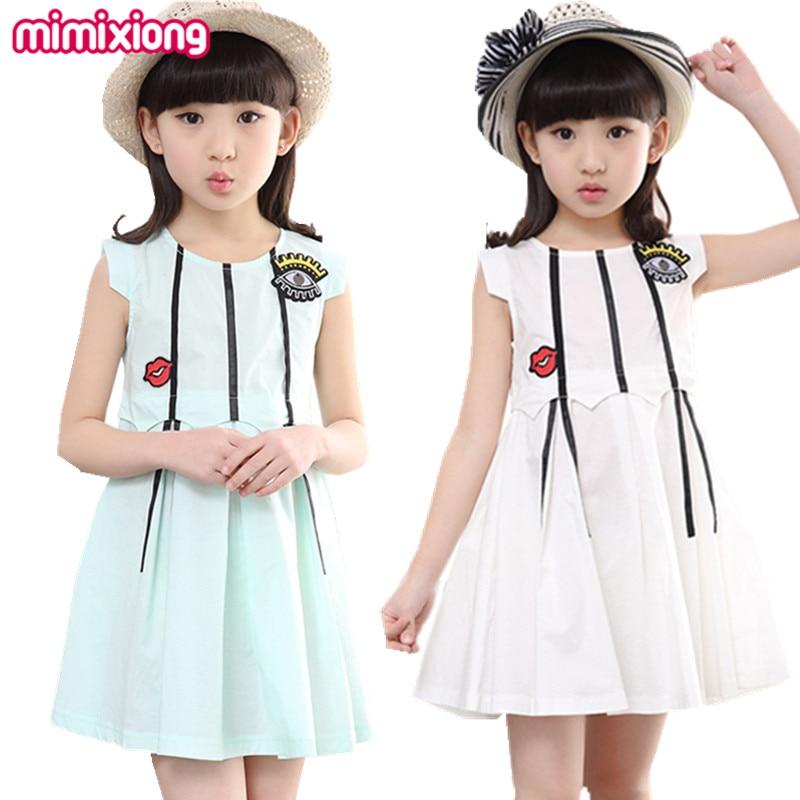 Summer Fashion A Line Mini Party Dress Pleated Green Child Dresses Girls Summer White Sleeveless Sweet Princess Sundress 2017