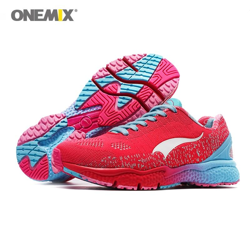Nove onemix prozračne cipele za trčanje za žene Pletene lagane Lady Trainers Šetanje na otvorenom sportu Udobne tenisice