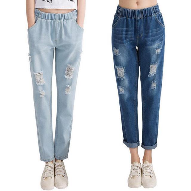 Calças de Brim das mulheres, Primavera Verão 2017 Denim Harem Pants Elastic Cintura Solta Buraco do Tornozelo-comprimento das calças de Brim com Desenho Da Mão calças de Brim das mulheres