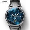 Часы LOBINNI мужские  роскошные брендовые наручные часы  Чайка  автоматические механические часы  Sapphire Moon Phase  часы для мужчин  L1023B-1